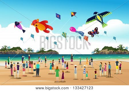 A vector illustration of people playing kites at the kite festival