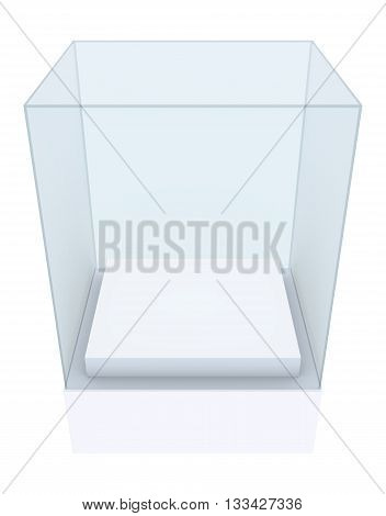 Empty glass showcase. 3D rendering. On white background
