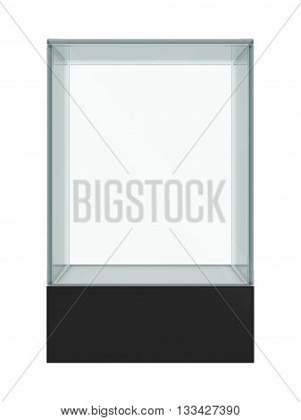 Empty glass showcase for exhibit isolated. 3D illustration