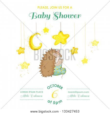 Baby Shower or Arrival Card - Baby Hedgehog Catching Stars - in vector