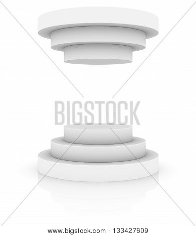Round stage podium or pedestal with cover isolated on white background, 3D rendering
