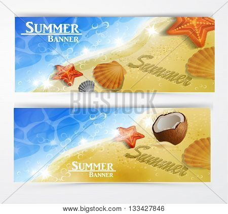 Travel and vacation vector banners with tropical natures set