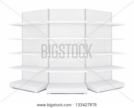 Three rounded blank empty retail shelves. White Background. 3D illustration