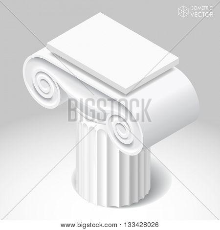 Isometric white capital of ancient column.  Vector illustration