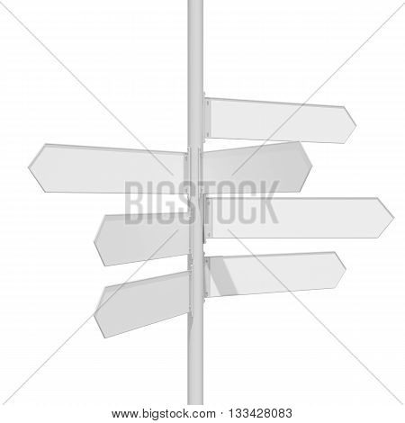 Blank white traffic road sign on white background. 3D illustration