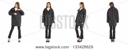Young And Beautiful Student In Squared Overcoat And Pants Isolated