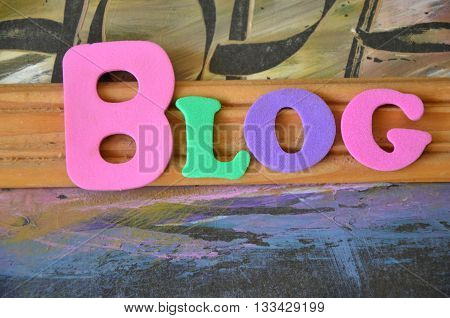 blog word on  a  abstract colorful  background