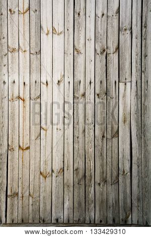 The old gray unpainted boards with knots and rusty nails.
