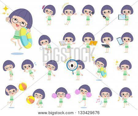 Bobbed Glasses Girl Green Swimwear Style 2