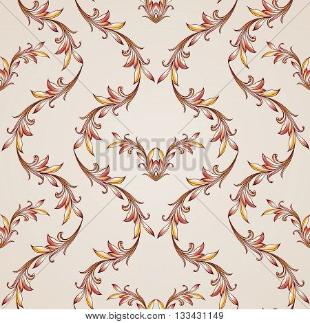 Seamless floral pattern with sprigs waving. Illustration in brown golden red and pink shades on light background