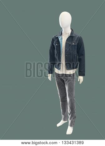 Contemporary elegant fashion apparel on male mannequin isolated. No brand names or copyright objects.