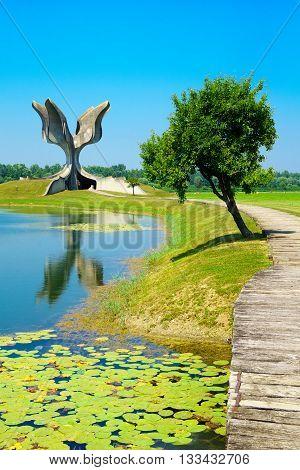 JASENOVAC CROATIA - JULY 07 2015: The Stone Flower memorial monument to the victims of Ustasha during World War II in Jasenovac Croatia