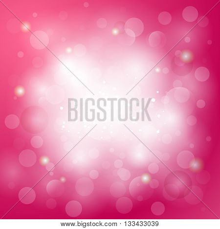 Pink abstract background with light blurs shining spots. Girly light background