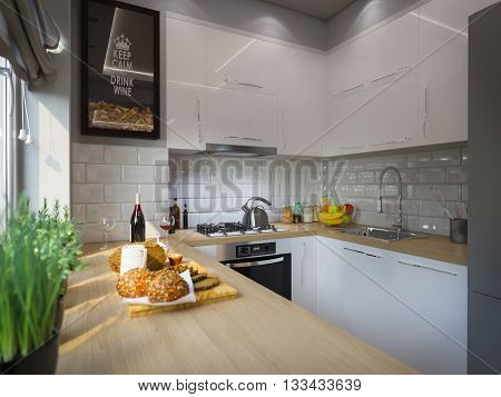 3d illustration kitchen decor interior design. Modern studio apartment in the Scandinavian minimalist style