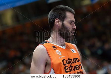 VALENCIA, SPAIN - JUNE 7th: San Emeterio during 3rd playoff match between Valencia Basket and Real Madrid at Fonteta Stadium on June 7, 2016 in Valencia, Spain