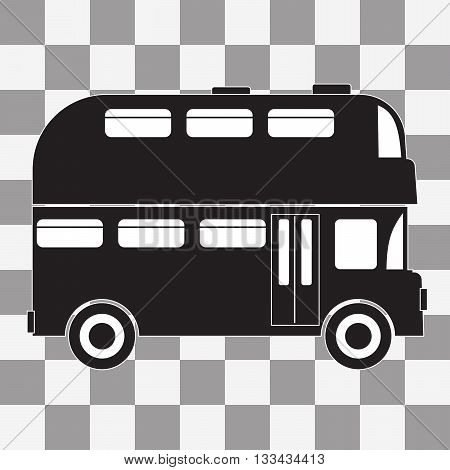 Vector black Double decker bus icon on transparency background