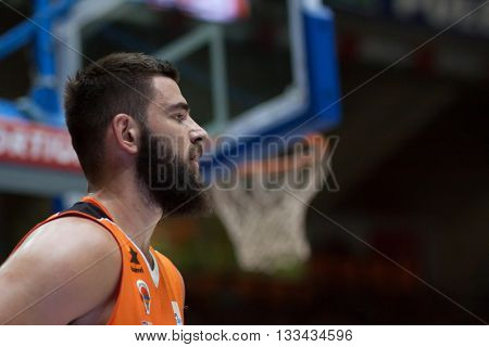 VALENCIA, SPAIN - JUNE 7th: Dubljevic during 3rd playoff match between Valencia Basket and Real Madrid at Fonteta Stadium on June 7, 2016 in Valencia, Spain