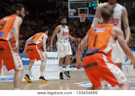 VALENCIA, SPAIN - JUNE 7th: Sergio Llull with ball during 3rd playoff match between Valencia Basket and Real Madrid at Fonteta Stadium on June 7, 2016 in Valencia, Spain