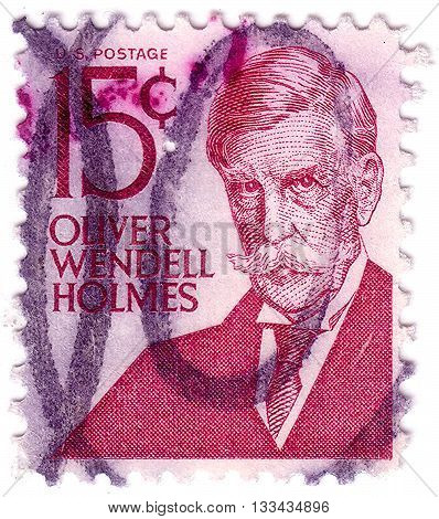 United States - Circa 1978: A Stamp Printed In The United States, Shows Oliver Wendell Holmes (1841-