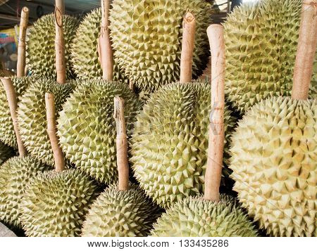 Durian. Group of durian fruit in Thailand market.