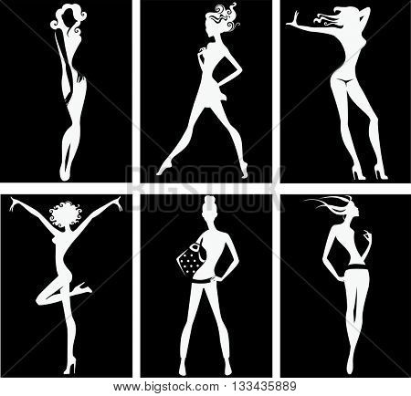 black and white silhouette of fashion girls
