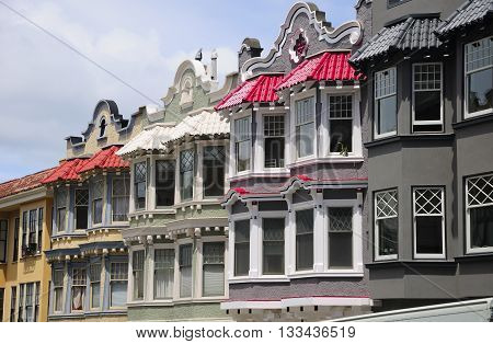The colorful and unique victorian style architecture of the apartments and homes that make up San Francisco's neighborhoods.