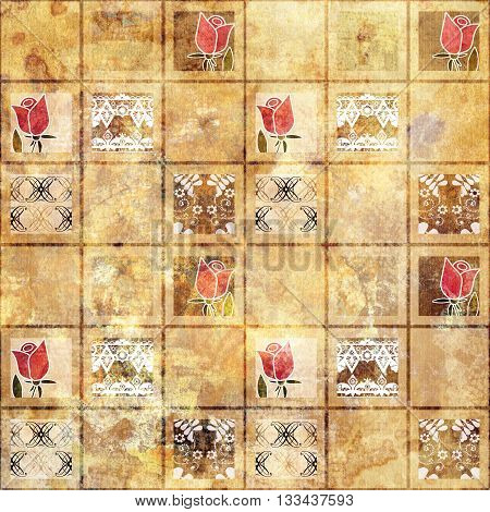 Beautiful pattern grunge old style with roses background ornamental