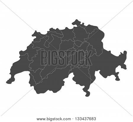 Map of Switzerland with regions illustrated on a white background