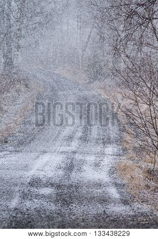 Thick snowfall and road in countryside landscape