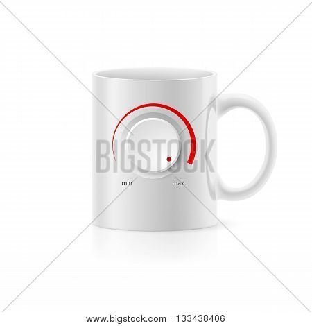 White cup with picture red controller on white background