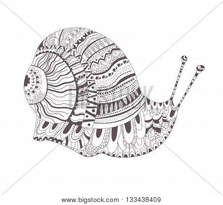Zentangle style. Hand drawn vector isolated illustration on white background. Henna mehendi, tattoo sketch. Snail