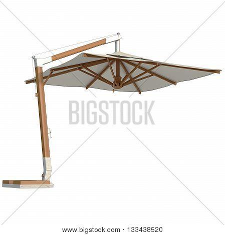 Modern beach umbrella for rest. 3D graphic
