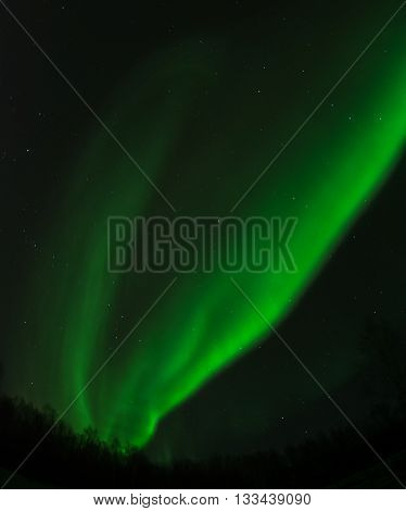 An aurora splits in to twin green streaks in the night sky.