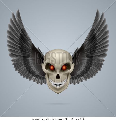 Evil looking mutant skull with black wings