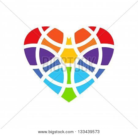 Colored heart logo. Heart logo design. Heart design element. Heart clipart. Heart icon. Fragmentized heart shape. Isolated. White background