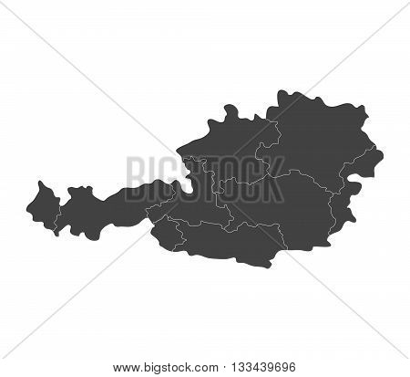 austria map with regions illustrated on a white background