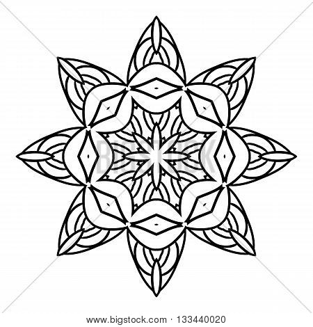 Mandala. Geometric decorative elements. Picture for coloring.