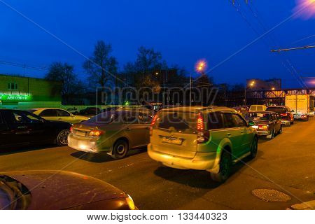 MOSCOW, RUSSIA -May 02.2016. Traffic jam on a highway at night Enthusiasts