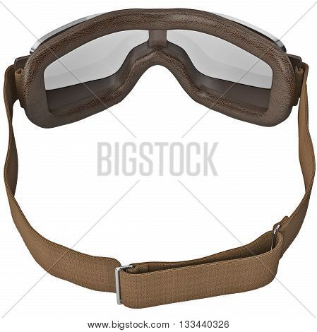 Retro glasses with black strap in vintage style for motorcyclist. 3D graphic