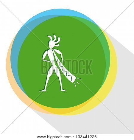 ethnic little man with trumpet. Internet template. Vector icon.