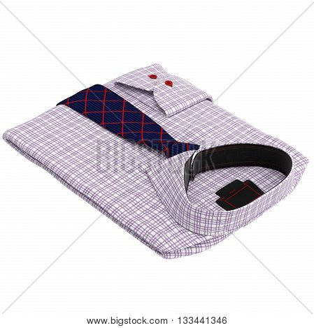 Folded classic men's shirt with long ties. 3D graphic