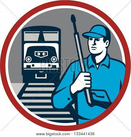 Illustration of power washer worker holding pressure washing gun on shoulder looking to the side with train and rail tracks in the background viewed from front set inside circle done in retro style.