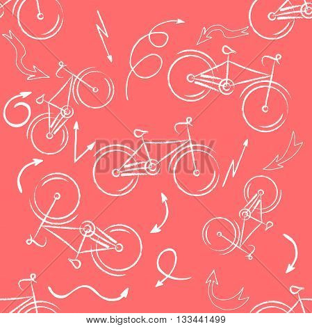 Seamless bicycles pattern. white icons on red background. Sport print. Vector illustration