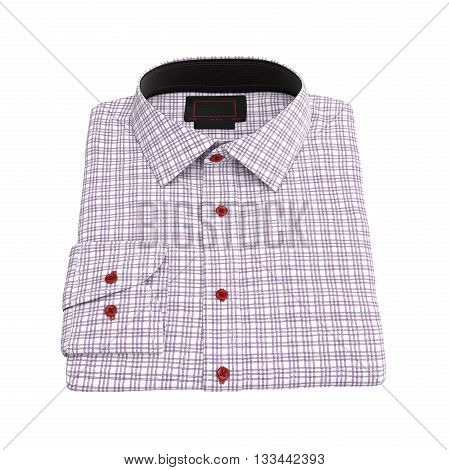 Men's folded checkered shirt color pink. 3D graphic