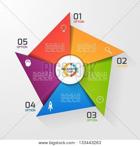 Windmill style circle infographic template for graphs charts diagrams. Business education and industry concept with 5 options parts steps processes.