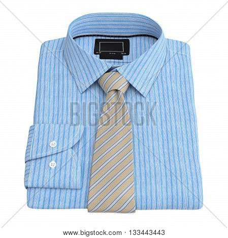 Men's checkered shirt with tie, top view. 3D graphic