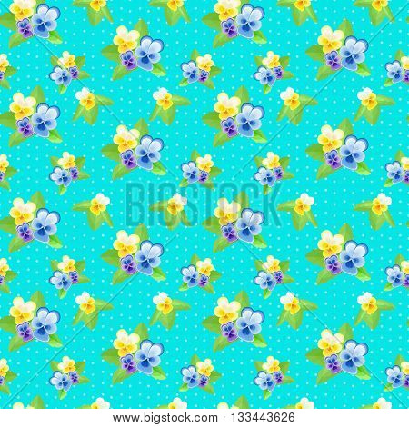 Small Pansies on blue background.Cute floral seamless pattern with flowers of different colors.Summer vector illustration.Can be used for fabric, textile, wrapping paper.