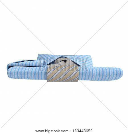 Stack of classic men's shirt and tie, front view. 3D graphic
