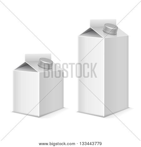 Paper milk and juice product tetra pack containers vector mockups set. Package paper for beverage, model package for milk or juice illustration
