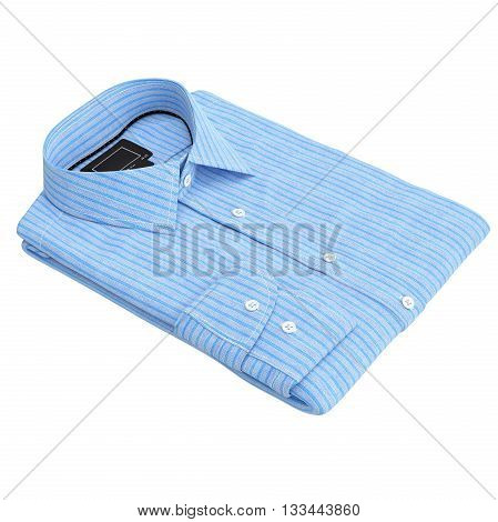Classic folded stripes shirt blue. 3D graphic